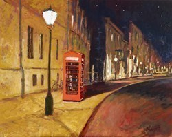Midnight Phone Box by Timmy Mallett -  sized 30x24 inches. Available from Whitewall Galleries